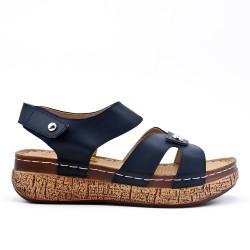 Grande taille - Sandale bleu à petit compensé