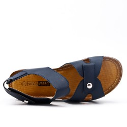 Large size - Blue sandal with small wedge