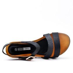 Grande taille - Sandale compensé noir à semelle confort