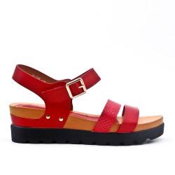 Sandale compensé rouge à semelle confort