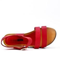 Grande taille - Sandale compensé rouge à semelle confort