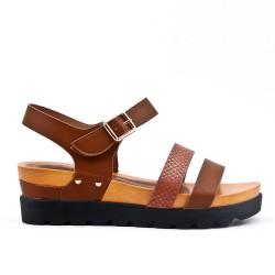 Sandale compensé marron à semelle confort