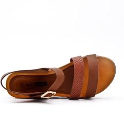 Grande taille - Sandale compensé marron à semelle confort
