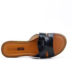 Large size - Black flat slat imitation leather
