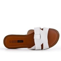 Large size - White flat slat imitation leather