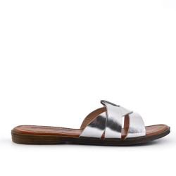 Silver flat slat imitation leather