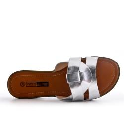 Large size - Silver flat slat imitation leather