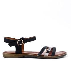 Sandalia plana negra en piel sintética