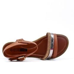 Grande taille - Sandale plate marron en simili cuir