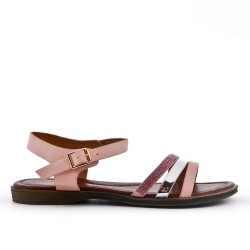 Sandalia plana de cuero rosa