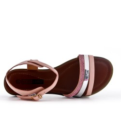 Talla grande - Sandalia plana de cuero rosa