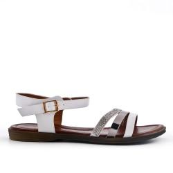 Sandalia plana de polipiel blanca