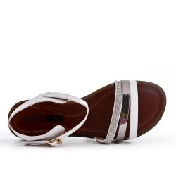 Grande taille - Sandale plate blanche en simili cuir