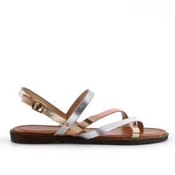 Grande taille - Sandale plate dorée en simili cuir