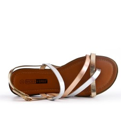 Large size - Golden flat sandal in faux leather