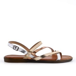 Large size - Silver flat sandal in faux leather