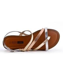 Grande taille - Sandale plate argent en simili cuir