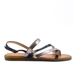 Large size - Black flat sandal in faux leather