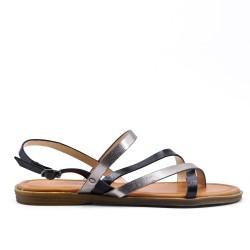 Grande taille - Sandale plate noire en simili cuir