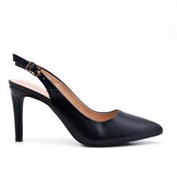 Escarpin noir en simili cuir