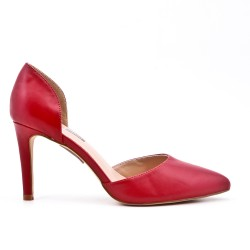 Escarpin rouge en simili cuir à talon