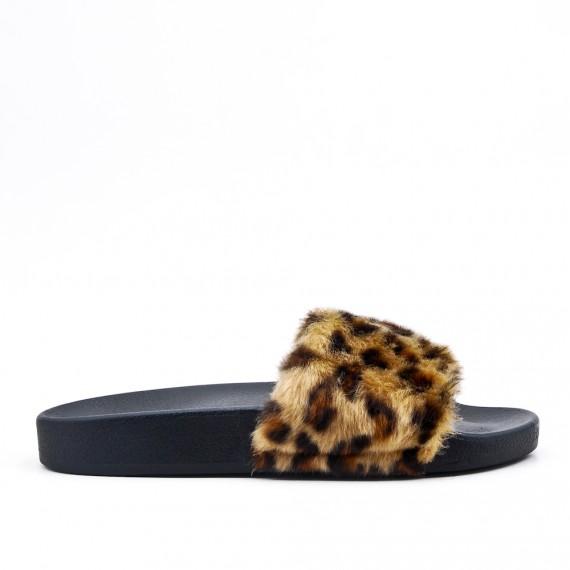 Claquette confort imprimé léopard