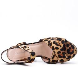 Sandale léopard à talon haut
