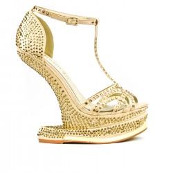 Sandale dorée à talon original