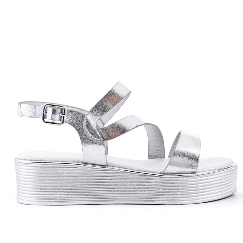 22fd736fac05 Silver faux leather sandal with thick soles
