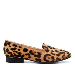 Mocassin léopard en simili daim