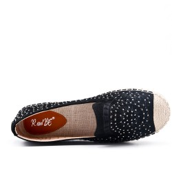 Black espadrille in perforated imitation leather