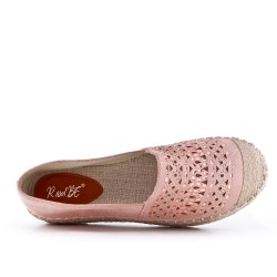 Espadrille rose en simili daim perforé