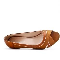 Camel suede low heel