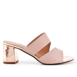 Pink flap in imitation leather with heel