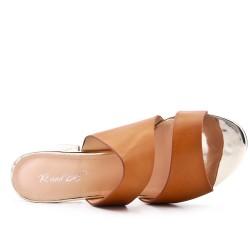 Claquette camel en simili cuir à talon