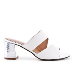 White imitation leather slipper with heel
