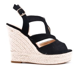 Wedge sandal black faux suede