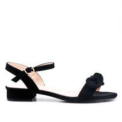Black faux suede knot sandal
