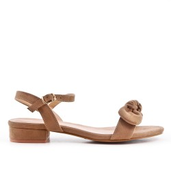 Sandale kaki en simili daim à nœud