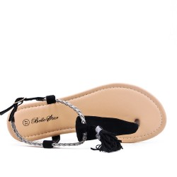 Black flat sandal with braided bridle