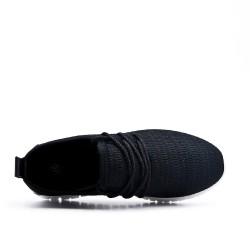 Basket enfant noire en tissus extensible à lacet
