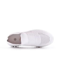 Basket enfant blanc en tissus extensible à lacet