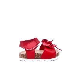 Sandale fille rouge à nœud