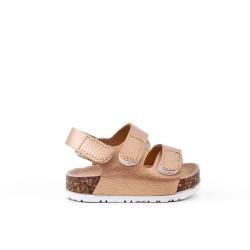Sandale fille dorée à scratch