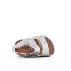 Sandale fille argent à scratch