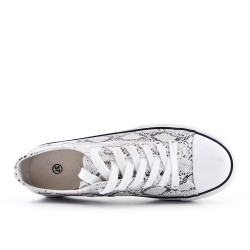 Snake-print lace-up sneaker