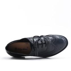 Richelieu noire en simili cuir à lacet