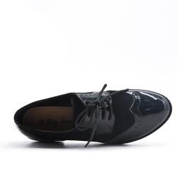 Richelieu noire bi-matière à lacet