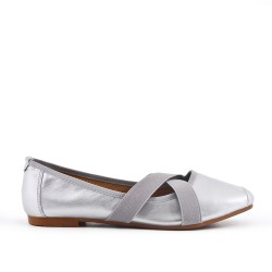 Silver comfort ballerina in faux leather