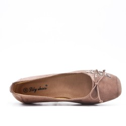 Beige comfort ballerina with star pattern